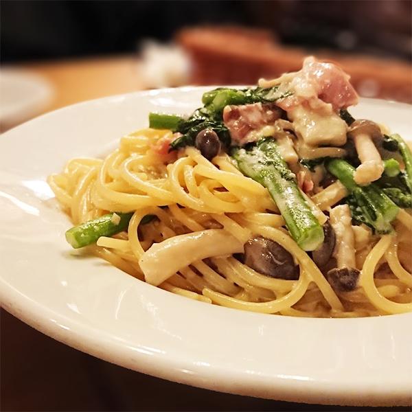 菜の花と生ハムのスパゲッティ